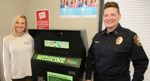 Tiffany Zwart (left) with Chief Angela Lawson (right) with the new drug drop off box at Vol State