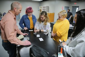 Students working on fingerprinting in the Vol State Criminal Lab (photo courtesy of Public Relations)