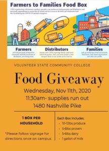 Food Giveaway Nov. 11